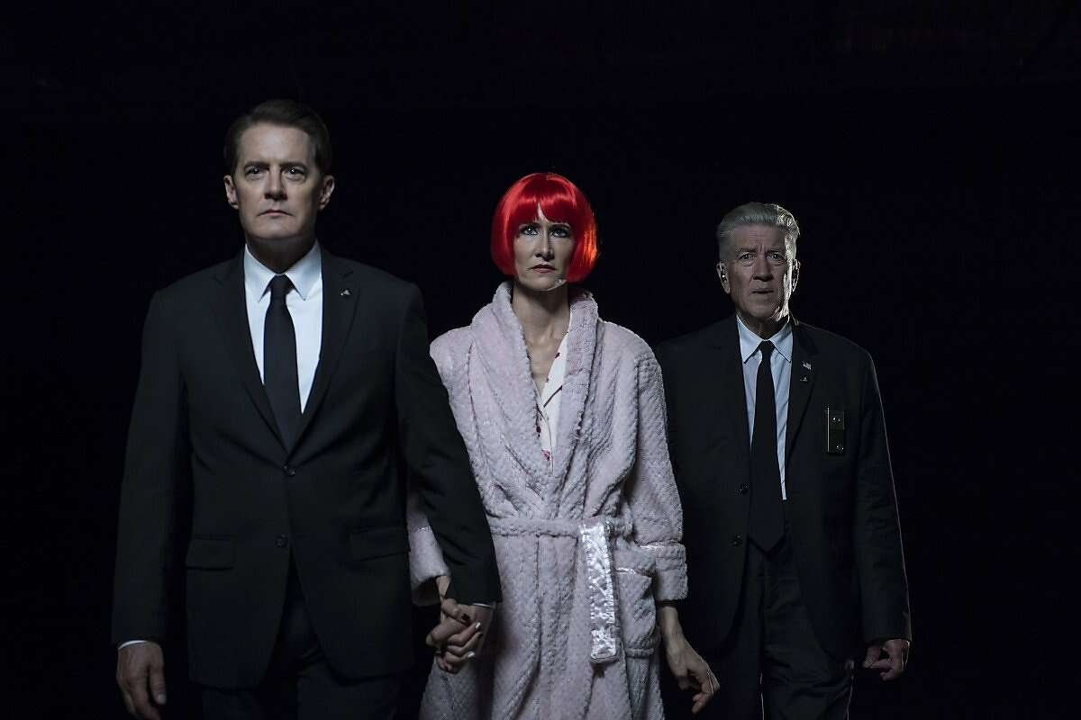 """Kyle MacLachlan, Laura Dern, and David Lynch"""" in Part 17 of """"Twin Peaks: The Return."""""""