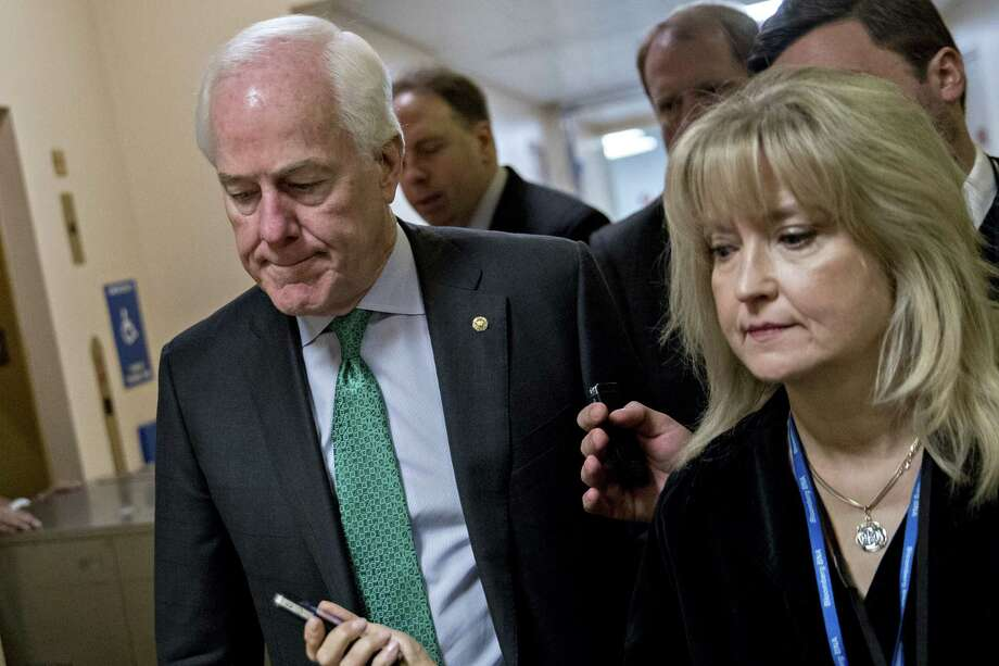 Senate Majority Whip John Cornyn, R-Texas, speaks to members of the media at the Capitol  on Tuesday. Photo: Andrew Harrer / © 2017 Bloomberg Finance LP