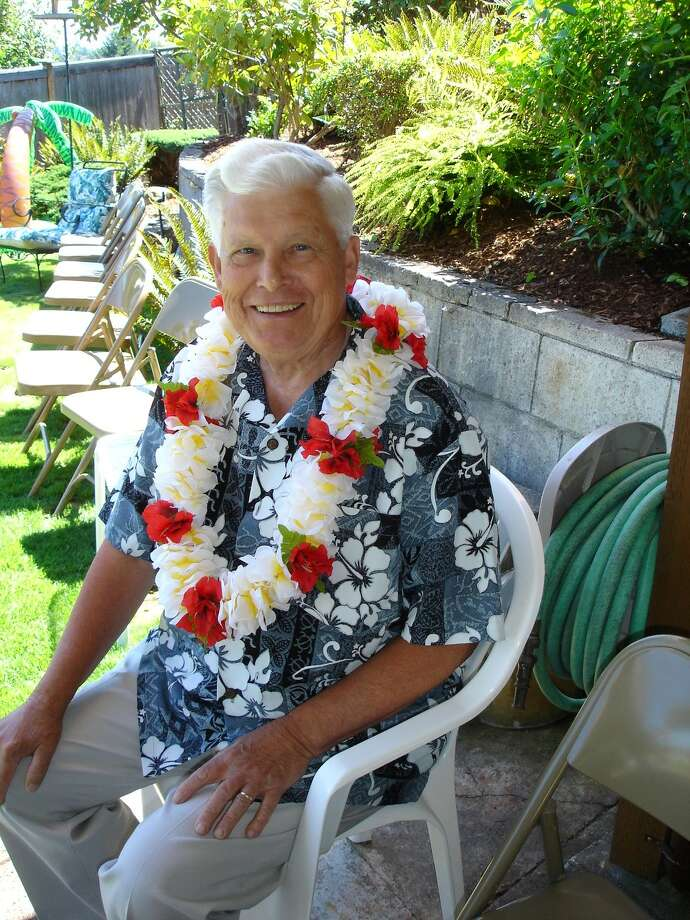 Kenneth Grondahl at his Hawaiian-themed 50th wedding anniversary party.