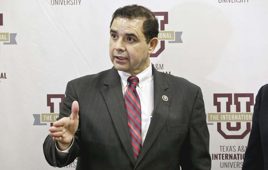 Congressman Henry Cuellar speaks to the media Wednesday during a news conference at TAMIU's Student Center. Photo: Victor Strife /Laredo Morning Times / LAREDO MORNING TIMES