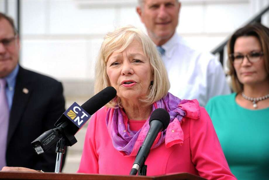 Janet Robinson, Stratford Superintendent of School, announced 43 faculty layoffs after teachers refused a two-day furlough. In this October file photo, she protested against state budget cuts. Photo: Ned Gerard / Hearst Connecticut Media / Connecticut Post