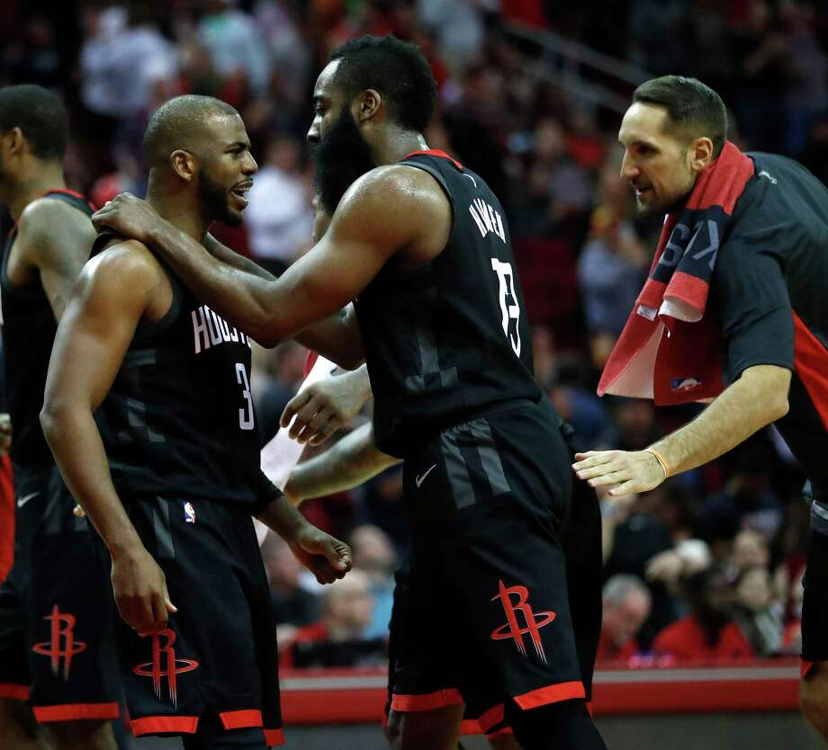 "The Rockets are ""just so blunt and honest,"" says P.J. Tucker, with even superstars like Chris Paul, left, and James Harden not afraid to clear the air. Photo: Karen Warren, Staff / © 2017 Houston Chronicle"