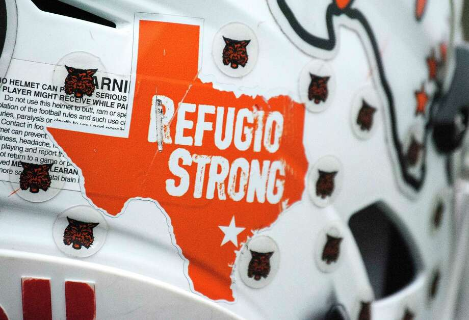"Bouncing back from hurricane Harvey to play in the 2017 Football Conference 2A D1 tournament at AT&T Stadium on Wednesday, the Bobcats added a ""Refugio Strong"" sticker to their helmets this season, Sunday, Dec. 17, 2017, in Refugio. ( Hunter Atkins / Houston Chronicle ) Photo: Hunter Atkins, Houston Chronicle / © 2017 Houston Chronicle"