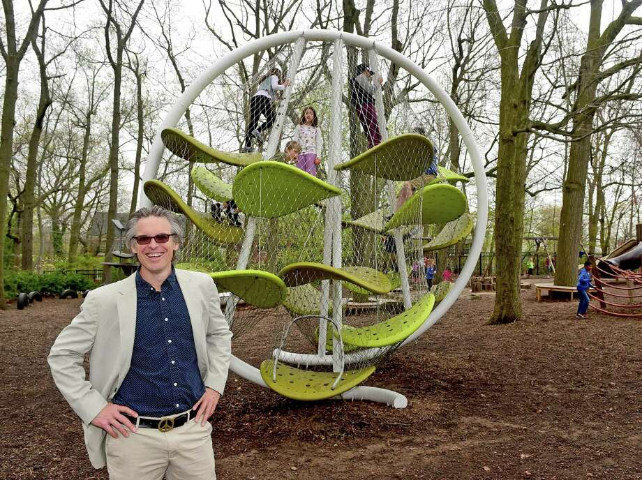 Spencer Luckey, of Luckey Climbers, a playground designer, next to one of his creations at the Foote School in New Haven. Photo: Hearst Connecticut Media File / ©2017 Peter Hvizdak