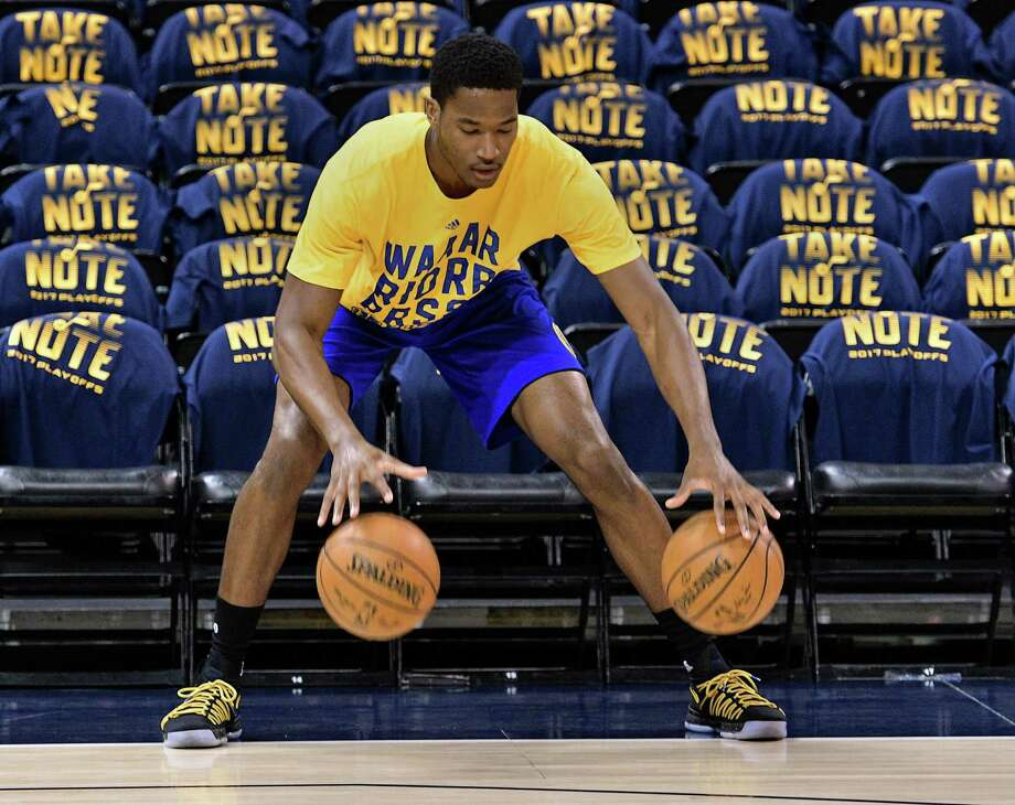 SALT LAKE CITY, UT - MAY 8: Damian Jones #15 of the Golden State Warriors practices dribbling balls prior to their game against the Utah Jazz in Game Four of the Western Conference Semifinals during the 2017 NBA Playoffs at Vivint Smart Home Arena on May 8, 2017 in Salt Lake City, Utah. NOTE TO USER: User expressly acknowledges and agrees that, by downloading and or using this photograph, User is consenting to the terms and conditions of the Getty Images License Agreement. (Photo by Gene Sweeney Jr/Getty Images) Photo: Gene Sweeney Jr. / Getty Images / 2017 Getty Images