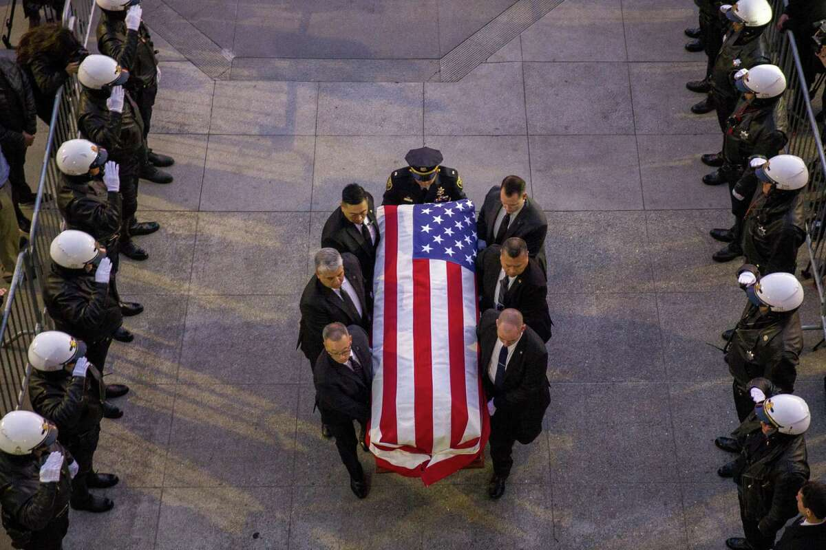 The casket of San Francisco Mayor Ed Lee is carried into San Francisco's City Hall on Friday, December 15, 2017. Mayor Ed Lee was lain in state at the City Hall rotunda. Lee died at the age of 65 following a heart attack on December 12, 2017.