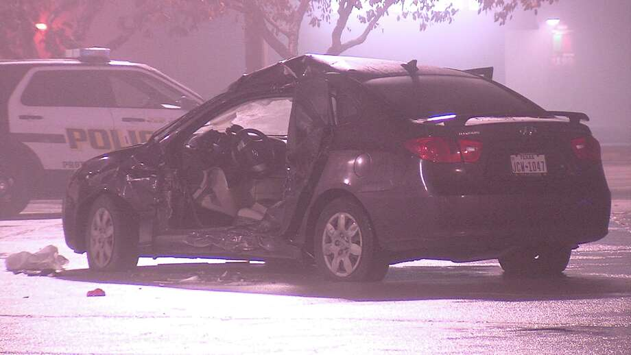 Police said a driver crashed into the woman's car around 10:40 p.m. in the 3300 block of Southeast Military Drive. Photo: Ken Branca