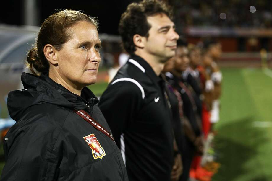 Recently hired Dash assistant coach Lisa Cole met head coach Vera Pauw at least two times in different parts of the world before they came together in Houston. Photo: Maddie Meyer - FIFA/FIFA Via Getty Images