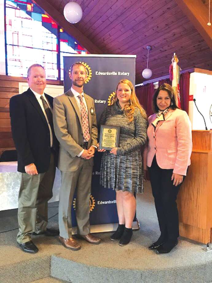 Edwardsville High School Jessica Harris, third from left, receives the December Rotary Student of the Month Award. Photo: For The Intelligencer