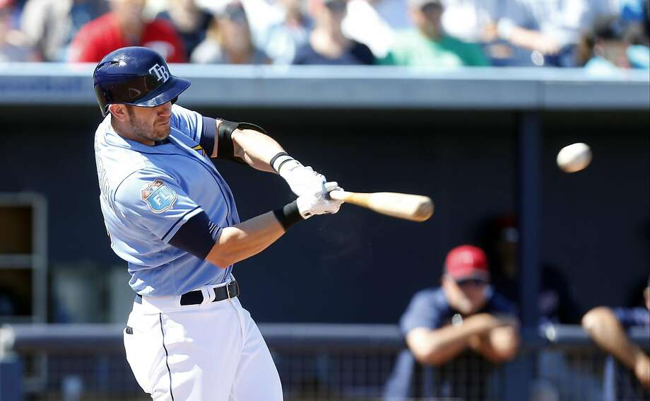Evan Longoria #3 of the Tampa Bay Rays hits a double during the third inning of an MLB spring training game against the Minnesota Twins on March 6, 2016 at Charlotte Sports Park in Port Charlotte, Florida. Photo: Brian Blanco, Getty Images
