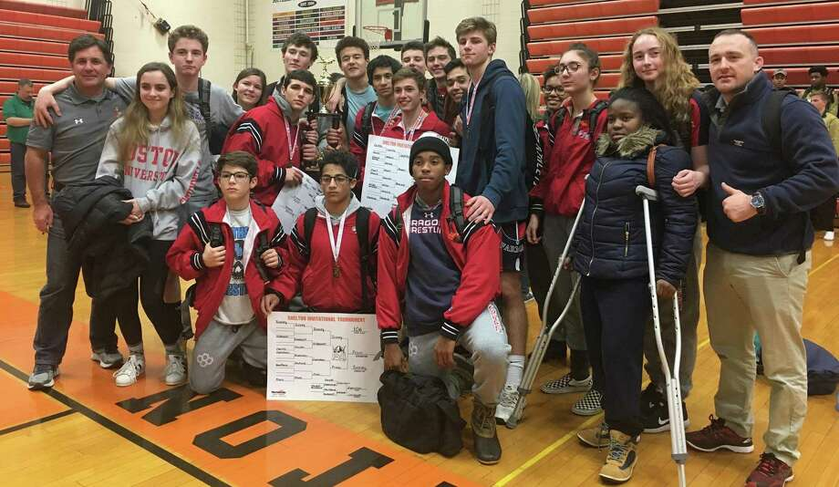 The Greens Farms Academy wrestling team poses for a photo after winning the Shelton Invitational wrestling meet on Saturday in Shelton. The team includes wrestlers from throughout many Fairfield County towns. Photo: Contributed Photo / Darien News contributed