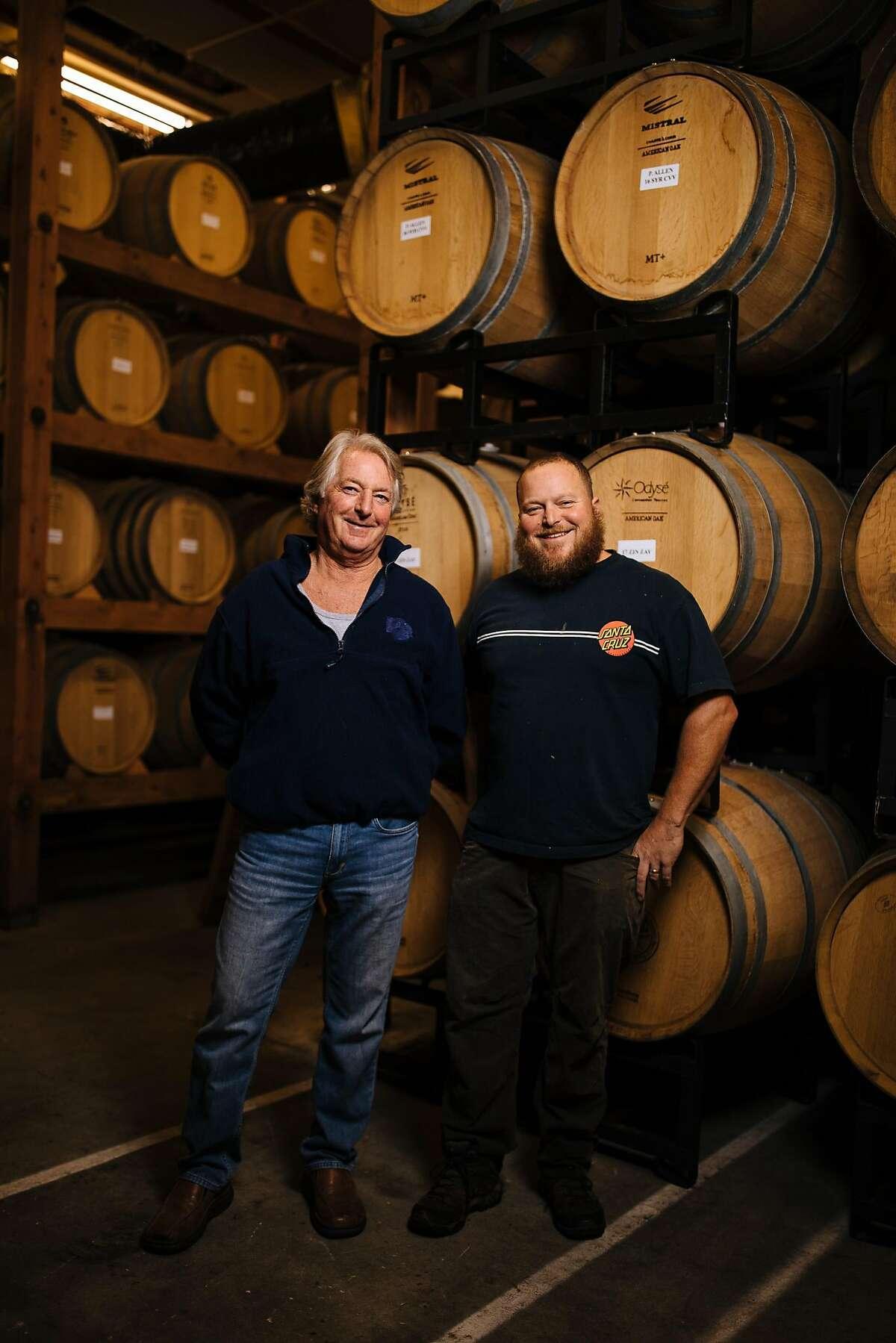 Jim Beauregard, viticulturist, and his son and winemaker, Ryan Beauregard, photographed in the cellar of Beauregard Vineyards in Santa Cruz, Calif. Friday, December 1, 2017.