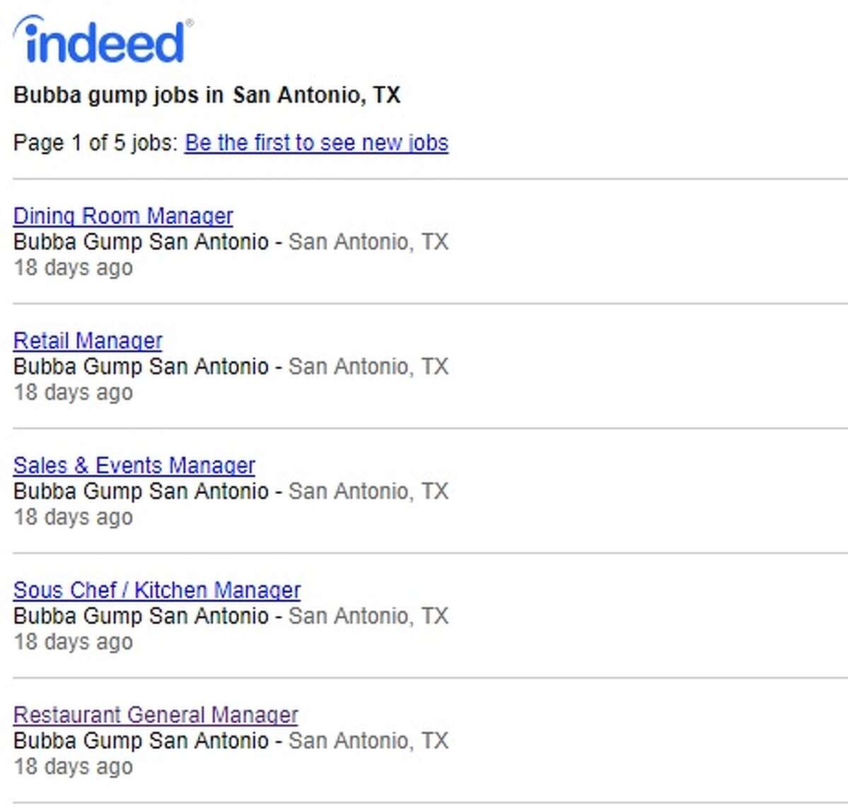 Job postings appear to show a San Antonio Bubba Gump Shrimp Co. will be opening.