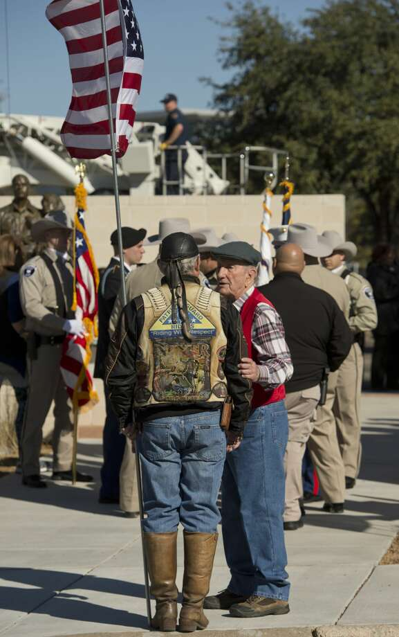 Clayton Williams talks with Bill McNeill and other members of the Patriot Guard 12/20/17 before the dedication ceremony of the new Hero's Plaza at ClayDesta Plaza. Tim Fischer/Reporter-Telegram Photo: Tim Fischer/Midland Reporter-Telegram