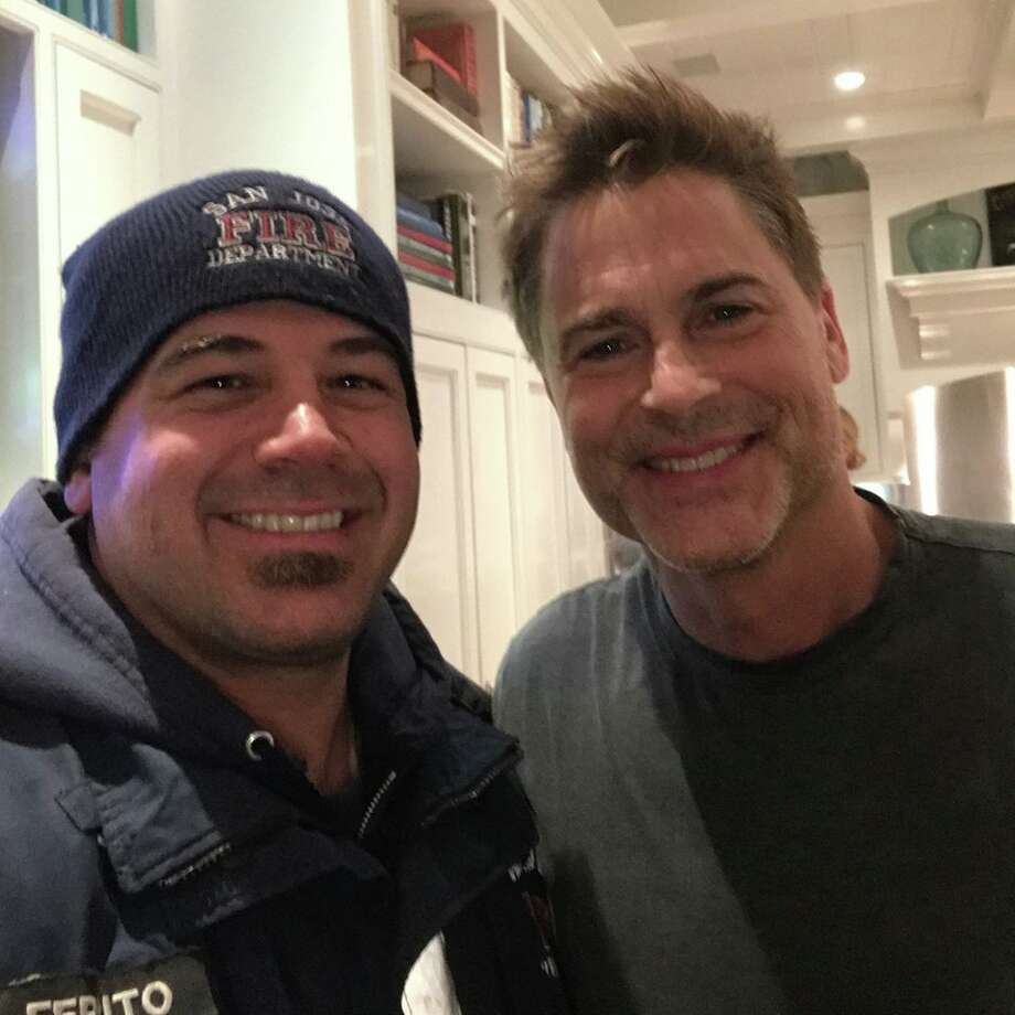 Rob Lowe invited Santa Clara County firefighters to dinner after they saved his home from the Thomas Fire. Photo: Tiffany Perry Ferrito/ Facebook