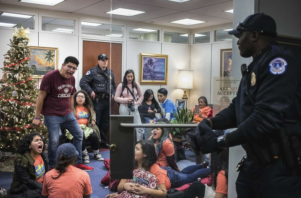 Supporters of the Deferred Action for Childhood Arrivals program occupy the office of Sen. Bill Nelson (D-Fla.) in protest on Capitol Hill in Washington, Dec. 18, 2017. (Tom Brenner/The New York Times)