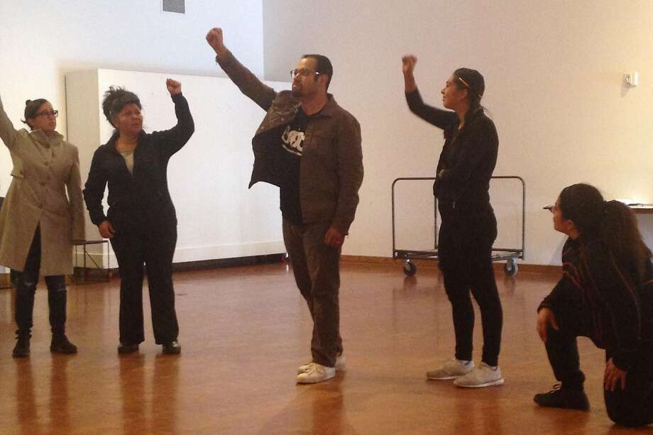 "Actors workshop the script for Teatro Visión's ""Departera."" Photo: Jacqueline Gamboa, Teatro Visi�n"