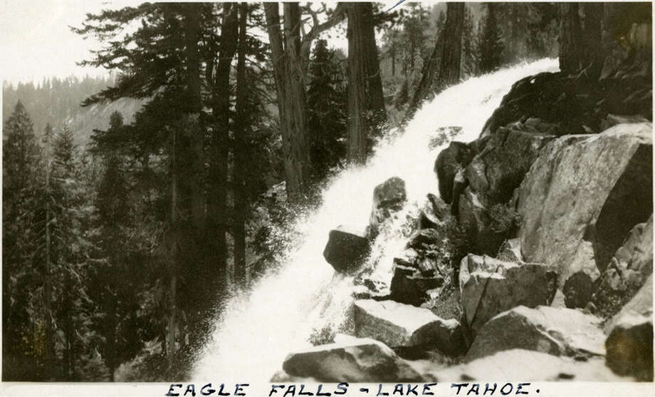 "Caption: ""Eagle Falls -- Lake Tahoe.,"" c. 1915-1920. Side view of head of Eagle Falls, near Lake Tahoe's Emerald Bay.""McCarthy Album 04, Photograph 192,"" California State Archives Exhibits, accessed December 20, 2017. Photo: © 2017 By The California State Archives, A Division Of The Secretary Of State's Office"