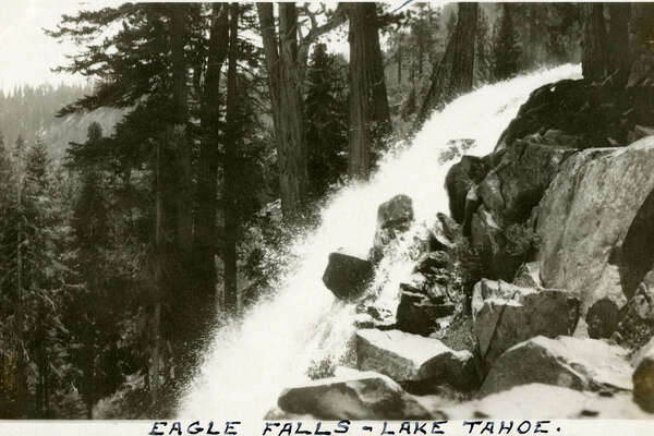 "Caption: ""Eagle Falls -- Lake Tahoe.,"" c. 1915-1920. Side view of head of Eagle Falls, near Lake Tahoe's Emerald Bay.  ""McCarthy Album 04, Photograph 192,""  California State Archives Exhibits , accessed December 20, 2017."