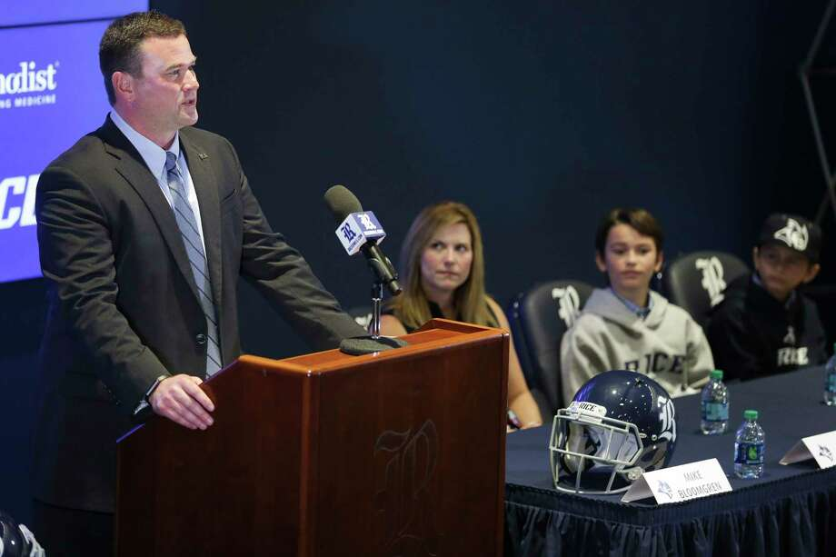 Rice University's new football coach Mike Bloomgren speaks at a press conference Wednesday, Dec. 6, 2017 in Houston.( Michael Ciaglo / Houston Chronicle) Photo: Michael Ciaglo, Houston Chronicle / Michael Ciaglo