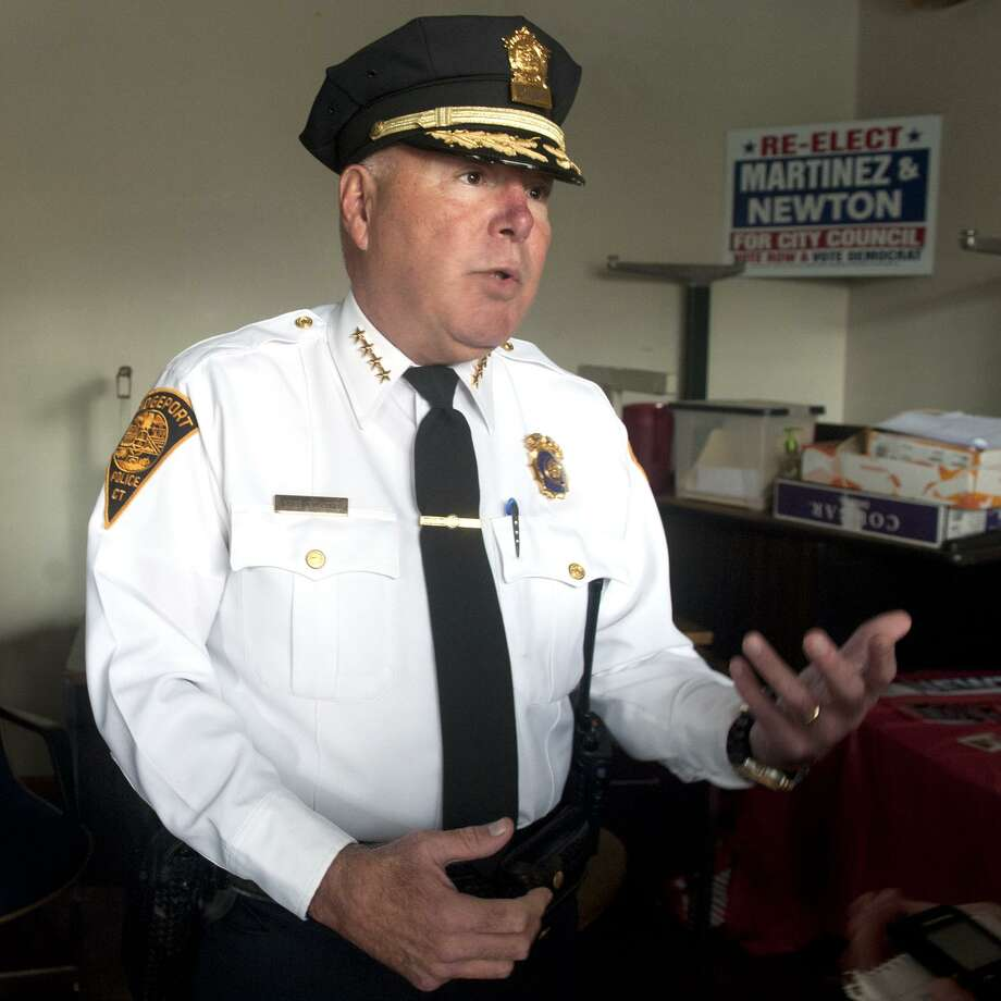 """Chief Armando """"A.J."""" Perez speaks at the site of an new police substation that will soon open in Bridgeport, Conn. Nov. 6, 2017. Photo: Ned Gerard / Hearst Connecticut Media / Connecticut Post"""