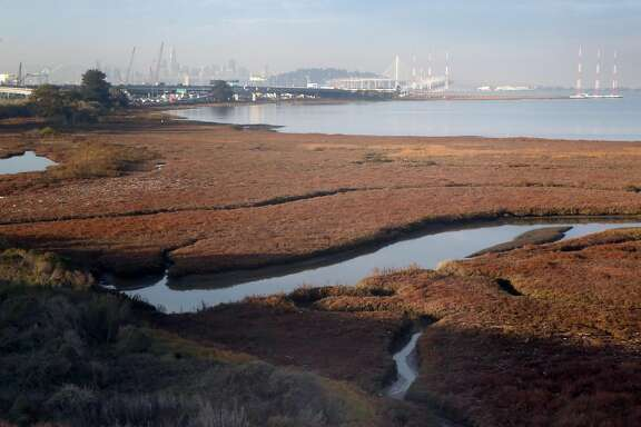 The Eastshore mudflats in Emeryville come into view from the Interstate 80 carpool lane aboard an AC Transit H-line Transbay commuter bus to San Francisco, Calif. on Tuesday, Dec. 19, 2017.