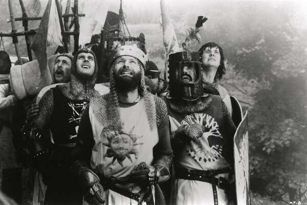 (from left) Eric Idle, John Cleese, Graham Chapman, Terry Jones and Michael Palin in a scene from 'Monty Python and the Holy Grail.'
