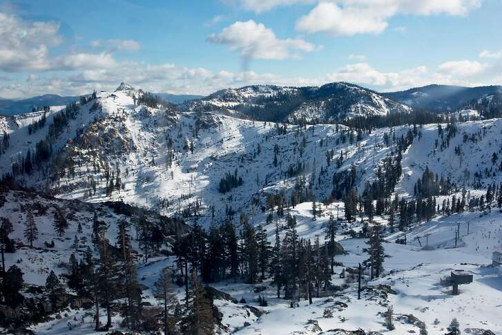 Fresh snow sits on the slopes in Olympic Valley, California, Wednesday, December 20, 2017.