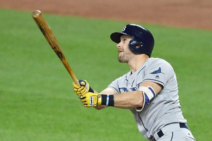 BALTIMORE, MD - SEPTEMBER 22:  Evan Longoria #3 of the Tampa Bay Rays takes a swing during a baseball game against the Baltimore Orioles at Oriole Park at Camden Yards on September 22, 2017 in Baltimore, Maryland.  The Rays won 8-3.  (Photo by Mitchell Layton/Getty Images)