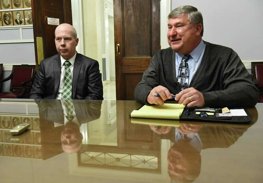 John Polimeni, left, and Ed Kosiur talk to a Times Union reporter at City Hall on Tuesday, Dec. 19, 2017 in Schenectady, N.Y. Ed Kosiur is poised to become the next City Council president. He is expected to name John Polimeni as the majority leader. (Lori Van Buren / Times Union) Photo: Lori Van Buren / 20042453A