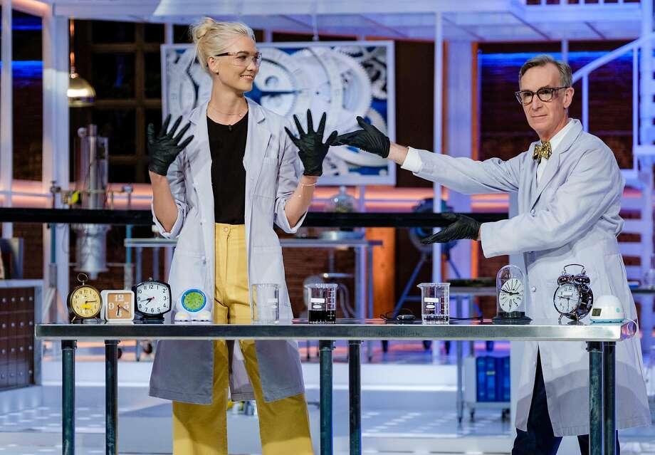 Bill Nye and model Karlie Kloss. Photo: Courtesy Of Netflix
