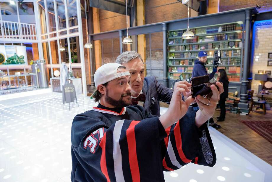 """Bill Nye and director Kevin Smith discuss cannabis policy in an episode """"Bill Nye Saves the World."""" Photo: Courtesy Of Netflix"""