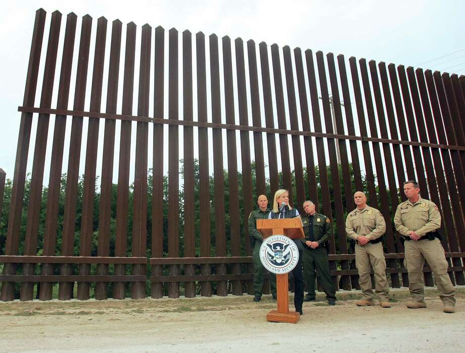United States Department of Homeland Security Secretary Kirstjen Nielsen speaks to the local news media against the backdrop of the border wall this month in Hidalgo, Texas. The new head of the U.S. Department of Homeland Security says she hopes construction on a border wall will begin soon. (Joel Martinez/The Monitor via AP) Photo: Joel Martinez, MBI / The Monitor