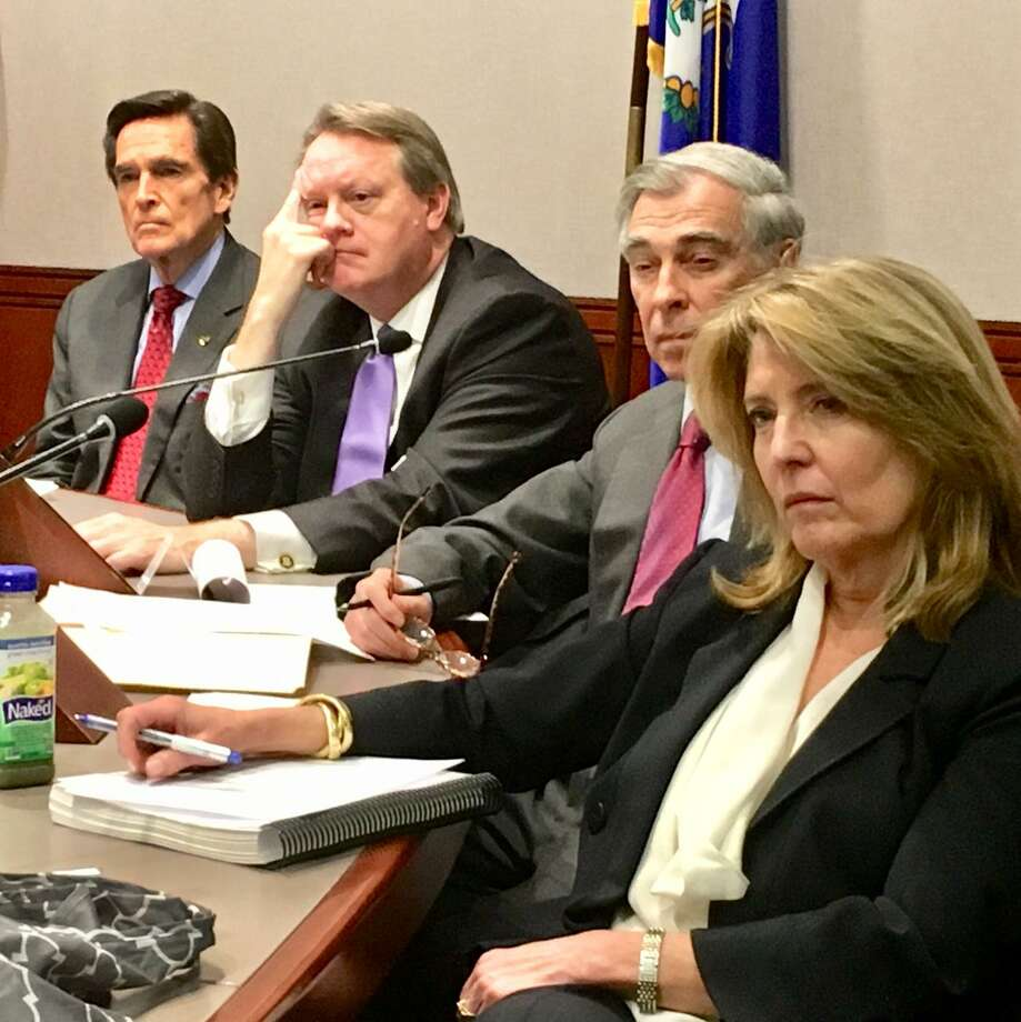 Cindi Bigelow, right, CEO of Bigelow Tea Co., is a member of the new state commission on fiscal stability and economic growth. From left are James Smith, of Webster Bank; Greg Butler, of Eversource; and Bruce Alexander, a Yale vice president. Photo: Dan Haar / Hearst Connecticut Media / The News-Times Contributed