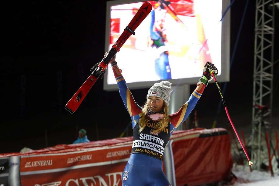 Mikaela Shiffrin exults in her World Cup parallel slalom victory in Courchevel, France. Photo: Christophe Pallot/Agence Zoom, Getty Images