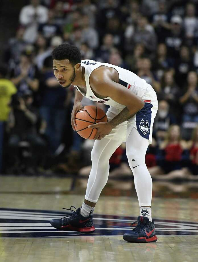 UConn's Jalen Adams is averaging 19.2 points per game. Photo: Jessica Hill / Associated Press / AP2017