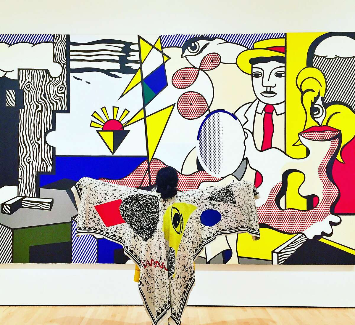 Carla Shen's self-portrait at the San Francisco Museum of Modern Art, February 2017, in front of a painting by Roy Lichtenstein. Her Instagram postings combine her love of fashion and of art.