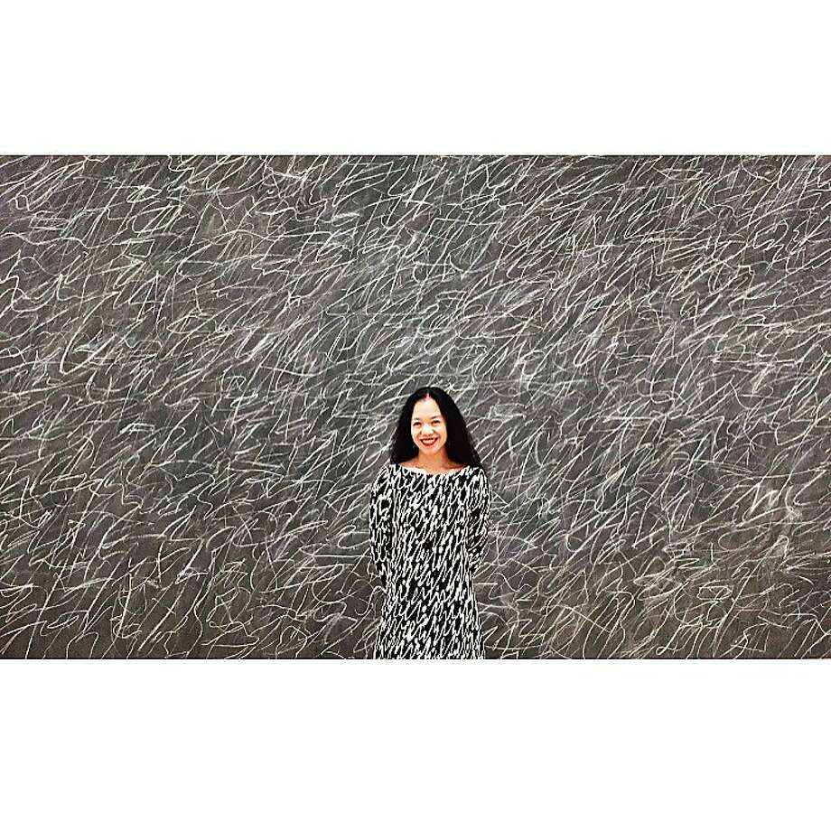 Carla Shen's self-portrait at the San Francisco Museum of Modern Art, February 2017, in front of a painting by Cy Twombly. Her Instagram postings combine her love of fashion and of art. Photo: Carla Shen