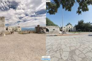 "The new ""digital battlefield"" interactive tool allows Web viewers to compare the 1836 Alamo with today's site, using ""slider"" fade, split-screen and side-by-side functions."