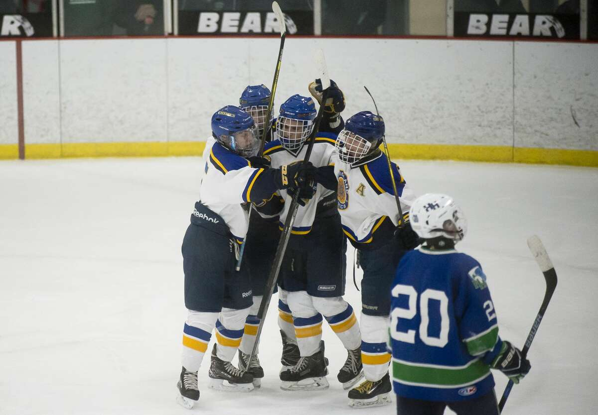 Midland players celebrate after a goal during the Chemics' game against Saginaw Heritage on Wednesday, Dec. 20, 2017 at Midland Civic Arena. (Katy Kildee/kkildee@mdn.net)