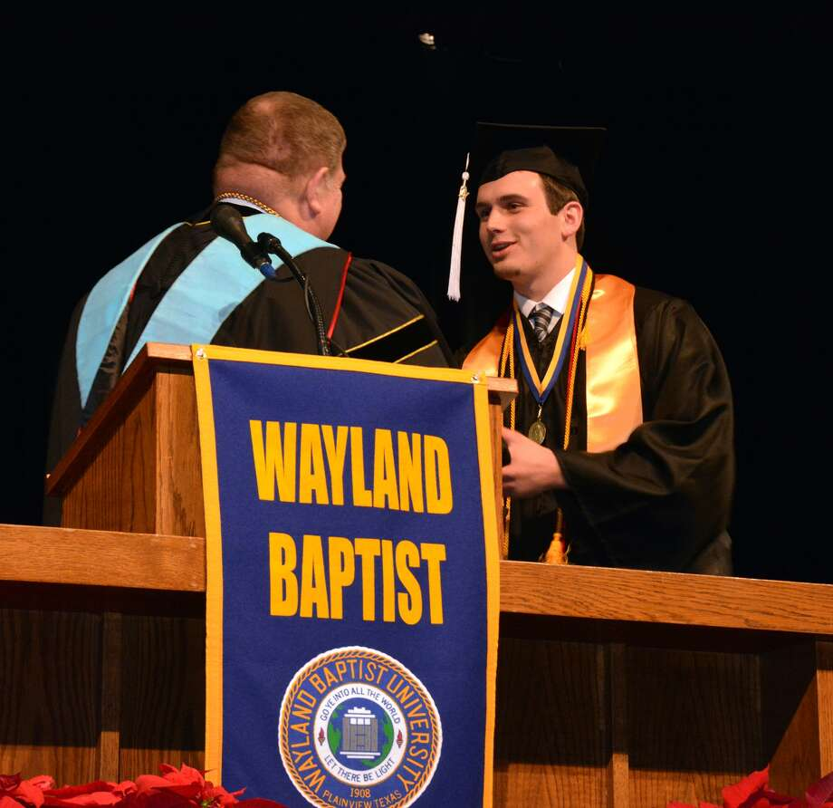 Wayland Baptist University senior Levi Brown, of Plainview, was recognized as one of the highest-ranking graduates during commencement exercises on Saturday afternoon. Photo: Jonathan Petty, Wayland Baptist University