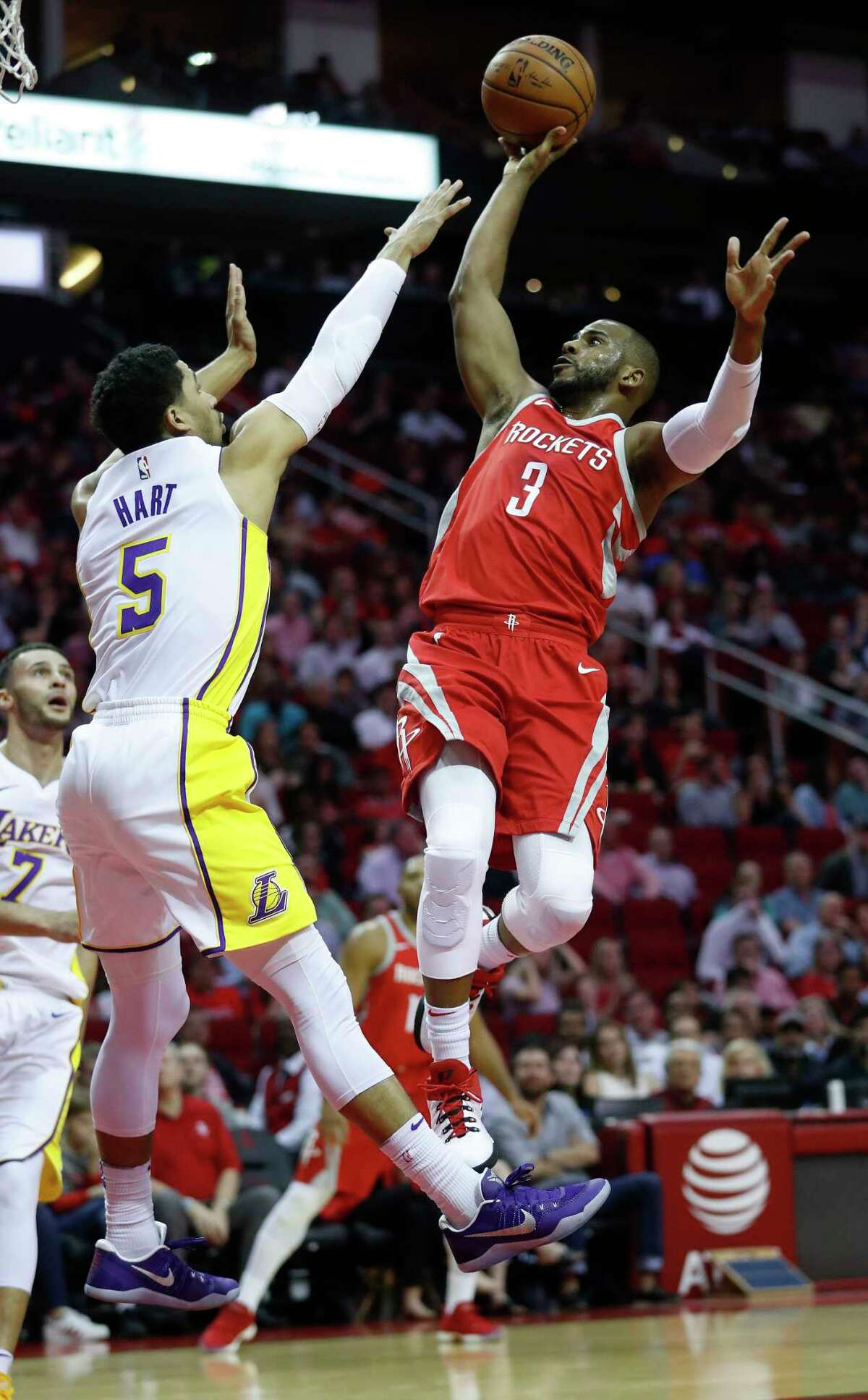 Houston Rockets guard Chris Paul (3) goes up for the shot against Los Angeles Lakers guard Josh Hart (5) in the first half of an NBA basketball game at Toyota Center, Wednesday, Dec. 20, 2017, in Houston.