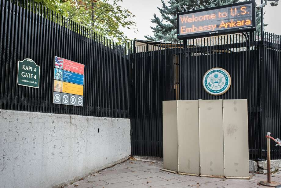 The front entrance of the United States Embassy in Ankara, Turkey, on Monday, 9 October 2017. American visa services were halted at US missions in Turkey following the detention of US consulate personnel in Istanbul, a move that sparked a diplomatic backlash between both countries. (Photo by Diego Cupolo/NurPhoto via Getty Images) Photo: NurPhoto/NurPhoto Via Getty Images