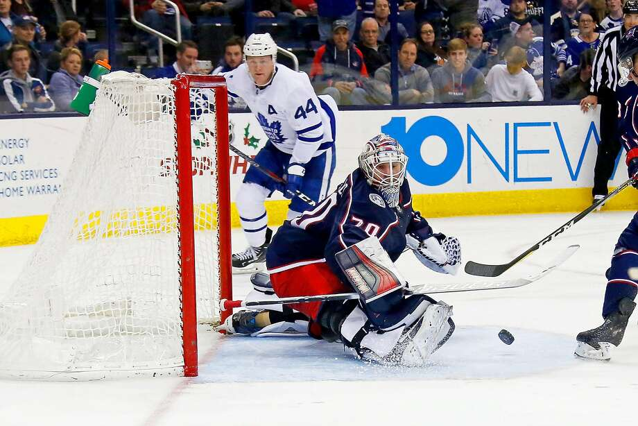 Blue Jackets goalie Joonas Korpisalo makes a kick save in the third period against the Maple Leafs. He stopped a season-high 39 shots, five shy of his career high, to help Columbus end a two-game slide. Photo: Kirk Irwin, Getty Images