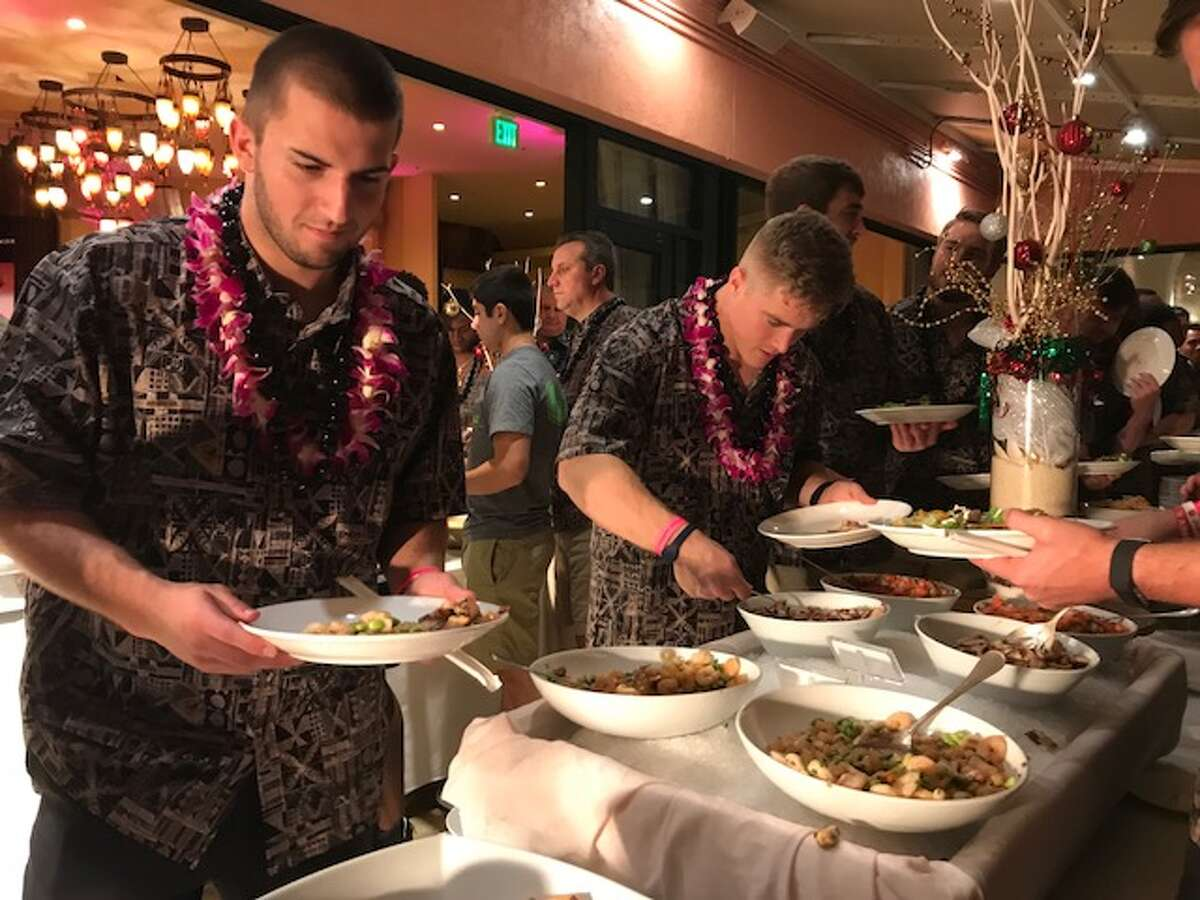 University of Houston players were treated to a Hawaiian buffet during events Wednesday night. Houston will face Fresno State in the Hawaii Bowl Sunday night.