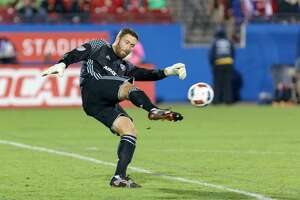 FRISCO, TX - NOVEMBER 06: FC Dallas goalkeeper Chris Seitz (18) punts the ball during the MLS playoff match between the Seattle Sounders and FC Dallas on November 6, 2016, at Toyota Stadium in Frisco, TX.  FC Dallas defeats Seattle 2-1.  Seattle advances on aggregate. (Photo by Andrew Dieb/Icon Sportswire via Getty Images)