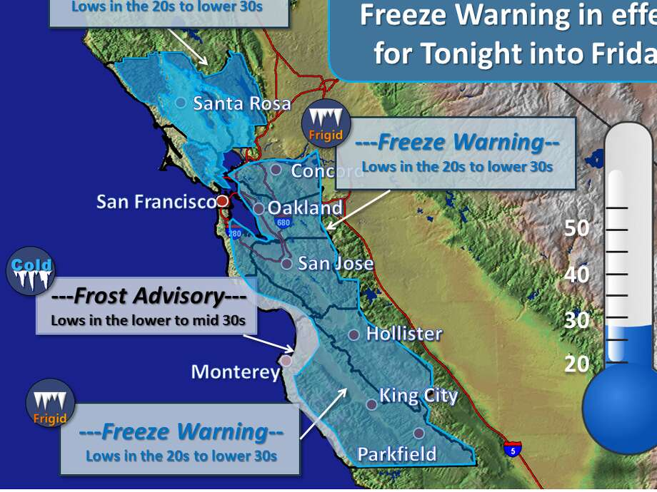 """The National Weather Service posted on Twitter: """"Colder temperatures are likely Thursday night into Friday. Most of our region is under a freeze warning due to low in the 20s to lower 30s expected."""" Photo: National Weather Service Bay Area"""