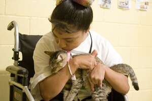 April Cadena is a volunteer at Laredo Animal Protective Society, a local no-kill shelter. Her mother Mabel says the shelter has allowed her to feel like part of the community, which has been difficult because of her disability.
