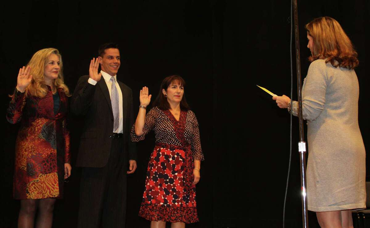 District 4 Representative Town Meeting (RTM) members Kristan Hamlin, Andrew Colabella, and Lisa Parrelli Gray were inaugurated into the current RTM term by Town Clerk Patty Strauss at the Nov. 20 Oath of Office Ceremonies in Westport Town Hall.