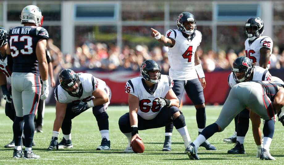 Houston Texans quarterback Deshaun Watson (4) calls signals at the line against the New England Patriots during the second quarter of an NFL football game at Gillette Stadium on Sunday, Sept. 24, 2017, in Foxbourough, Mass. ( Brett Coomer / Houston Chronicle ) Photo: Brett Coomer, Staff / © 2017 Houston Chronicle